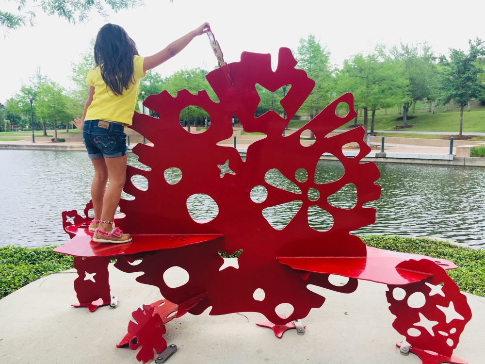 Red Snow Flake Bench on the Waterway, The Woodlands, Texas